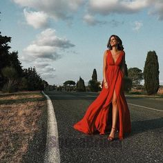 Red Sexy Simple Deep V neck Side Split Chiffon Prom Dresses 2018 – Okdresses