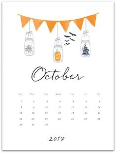 October 2017 free calendar page printable. Mason jar calendar page printable for October 2017. Download and print free calendar page with mason jars.