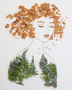 "Print of original flower creation by Vicki Rawlins, ""Be Wild"" is originally made from foraged leaves, foliage, and twigs! ""I have the entire forest living inside of me and you have carved your name in"