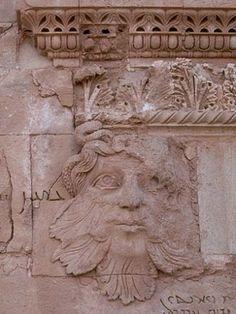 Mesopotamian Green Man (c. 3rd - 1st Century BCE) in the ruined desert city of al-Hadr (or Hatra), Iraq