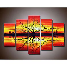 @Overstock - This hand-painted canvas art set features five oil canvas paintings. Each canvas is gallery wrapped and staple-free. The built-in mounted hangers make it easy to hang these pictures right out of the package, and the sunset design brightens up all rooms.http://www.overstock.com/Home-Garden/Sunset-Hand-painted-Canvas-Art-Set/4121696/product.html?CID=214117 $94.49