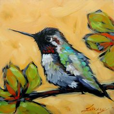 Hummingbird painting 4x4 inch original par LaveryART sur Etsy