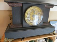 Ornate Antique Victorian Mantel Clock, Chimes, Works, With Key
