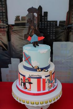 Mary Poppins cake for baby shower (by Sweet and Saucy Shop)