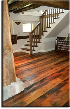 Going for a rustic look, the 5 Pebbles High Heels cabinet would look great in this mixed barn-board flooring.