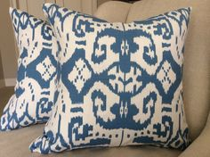 QUADRILLE China Seas Pillow Cover in Island Ikat by AccentMarks