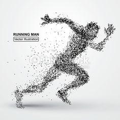 Vector Art : Running Man, particle divergent composition, vector illustration
