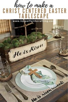 Rustic Easter Decorations With DIY Christ-Centered Easter Napkin Rings - Leap of Faith Crafting Christ centered Easter table with DIY napkin rings and placemats. Video tutorial on how to make the cross napkin rings out of chipboard with a Cricut Maker. Easter Table Settings, Easter Table Decorations, Cricut, Easter Placemats, Diy Osterschmuck, Diy Crafts, Faith Crafts, Easter Religious, Easter Traditions