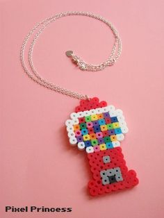 """A cute gumball machine made of Perler Beads and attached to an adjustable 20-22"""" chain!"""