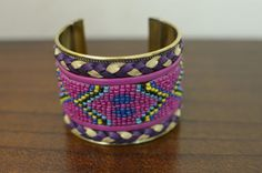 Pink & Purple Native Beaded Cuff Bracelet,  by oRadhaO on Etsy