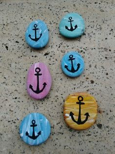Rock painting anchor taş boyama Anchor Painting, Dot Painting, Painting For Kids, Pebble Painting, Pebble Art, Stone Painting, Rock Painting Ideas Easy, Rock Painting Designs, Anchor Crafts