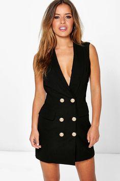 0c5fa79e9b2ec Petite Amy Button Detail Sleeveless Blazer Dress