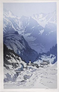 ✨ Oscar Droege (1898-1983) - Bergdorf im Winter, re. u. mit Bleistift sign., 39,5x 23,5 cm ::: Mountain Village in Winter, Colour Woodcut