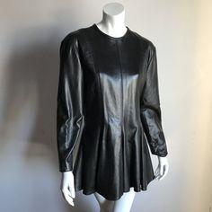 womens vintage 80 s black leather high waist flared out. Black Bedroom Furniture Sets. Home Design Ideas