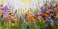 Original Oil Painting Abstract Flowers on by ForestSandandAir