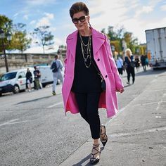Costanza Pascolato renowned fashion consultant in Brazil wore a Valentino coat paired with new seasonal shoe #lovelatch to the #SS16 show in Paris this week. @costanzapascolatos2g  by @Mrs.arichan