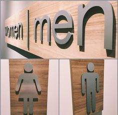 Custom made walnut and aluminum women and men bathroom signage handmade by our v. Church Lobby, Church Foyer, Church Office, Church Interior Design, Church Stage Design, Man Bathroom, Bathroom Ideas, Master Bathrooms, Church Welcome Center