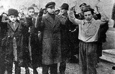 Bucharest, Rumania, Jews being led with their hands up.
