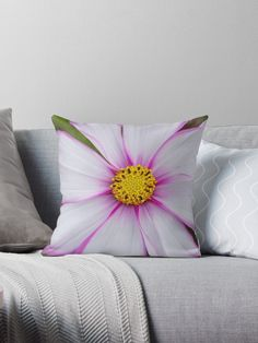 'Winter Cosmos Flower in Pink Throw Pillow by ellenhenry Fabric Painting, Fabric Art, Burlap Pillows, Throw Pillows, Butterfly Taxidermy, Pillow Crafts, Floral Cushions, Painted Clothes, Hand Embroidery Stitches