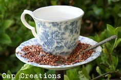 """I have been wanting to make one for years, got a tea cup and saucer for free at a French Salvation Army store yesterday and found various """"how to."""" Today you are mine!"""