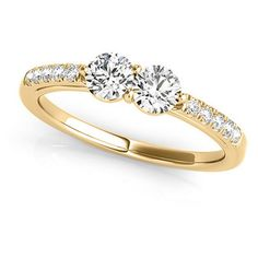 Allurez Diamond Accented Cathedral Two Stone Ring 14k Yellow Gold... (3 310 PLN) ❤ liked on Polyvore featuring jewelry, rings, fine jewelry engagement rings, gold rings, 14k gold jewelry, gold engagement rings and engagement rings