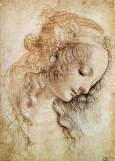 Head Of A Woman - Leonardo da Vinci, c. 1470s (Italian Renaissance polymath: painter, sculptor, architect, musician, mathematician, engineer, inventor, anatomist, geologist, cartographer, botanist, and writer.)