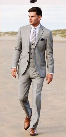 2017 Newest Coat Pant Designs Gentle Gray Males Go well with Seashore Terno Slim Match Fits three Pi Terno Slim, Light Grey Suits, Gray Suits, Mens Light Grey Wedding Suits, Blue Suit Wedding, Black Suits, Suit Combinations, Three Piece Suit, 3 Piece