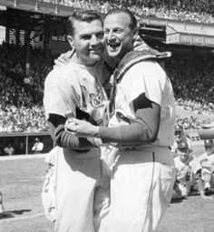 The Captain and The Man: Cardinals third baseman Ken Boyer greets Stan Musial before Musial's final game on Sept. 29, 1963. (Post-DIspatch photo):