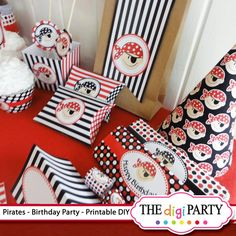 Pirate Birthday Printable Party just print & cut. PDF files. The pdf file will be emailed to you within 24 hs and contains everything you need for a coordinating party! Please note that orders are not processed until cleared payment is received. Please note, that the file. Basic crafting supplies required for assembly. Cardstock, tape, glue, scissors, hole punch or x-acto knife. 2 inch round paper punch (not required). All pages are formatted to be printed as an 8.5x11. Pirate Party Favors, Pirate Party Decorations, Pirate Boy, Pirate Theme, My Son Birthday, Pirate Birthday, Diy Party Kits, Party Giveaways, Printable Party