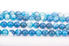 Agate Beads, Agate Gemstone, Blue Band, Blue Gemstones, Jewelry Making Beads, Round Beads, Blue Stripes, Natural Stones, Shapes