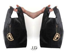 Black leather tote bag, JUD hand made, soft leather,student,sack,unisex,high fashion,large bag