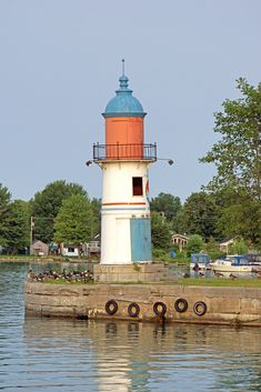 Soulanges Canal Upper Entrance Front Lighthouse of the Canadian Inland Waterways part of the Saint Lawrence River, Quebec, Canada.