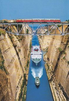Corinth Canal is in Greece. Train Tracks Spanning the Canal. Places To Travel, Places To See, Travel Destinations, Corinth Canal, Corinth Greece, Trains, Train Tracks, Mykonos, Travel Around