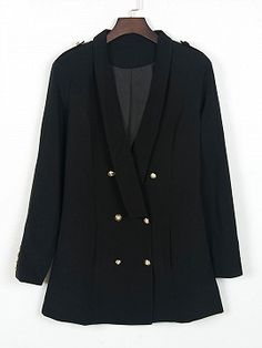 Shop Black Lapel Double Breasted Slim Blazer from choies.com .Free shipping Worldwide.$39.9