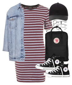 """Outfit for shopping with a denim jacket"" by ferned on Polyvore featuring Topshop, Pull&Bear, Fjällräven, Converse, Canali, Jennifer Fisher and Forever 21"