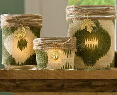 Decoupage - Rustic Burlap Candle Holders