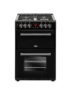 Belling Farmhouse 60DF Dual Fuel Cooker, Energy Rating, Black Electric Cooker, Electric Oven, Oven Cooker, Range Cooker, Dual Fuel Cooker, Gas Energy