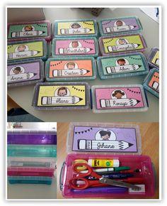 Classe • Organisation • Étiquettes boite à stylos ~