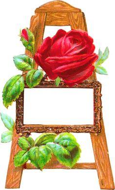 Vintage Roses on Easel Frame / Label