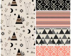 Coral Desert Fox Baby Bedding, Tribal Crib Sheet, Aztec Crib Skirt, Geometric Bumper, Modern Bumperless, Hipster Girl Nursery, Neon Earth