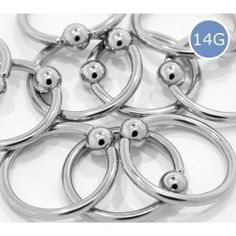 "14G 5/8"" Surgical Steel Captive Bead Rings Body Jewelry - Each Sold Separately Jewelry"