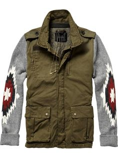 Army inspired jacket with ikat designed sleeves