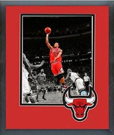 Derrick Rose Framed With Team Color Double Matting Ready To Hang- Awesome & Beautiful