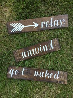 Relax, unwind, get naked hand painted wooden wall art by LRCdesignstudio on Etsy https://www.etsy.com/listing/453371404/relax-unwind-get-naked-hand-painted