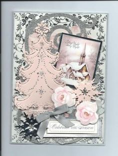 Pink Christmas card for 2014 using Anna Griffin dies, paper & flowers. By Sandi Beecher by Divonsir Borges