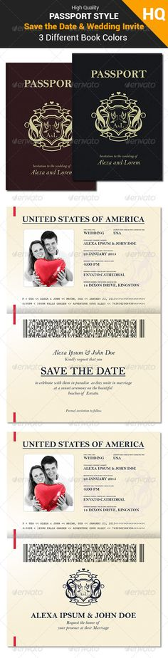 Passport Style Wedding Invitation / Save the Date Template PSD #design Download: http://graphicriver.net/item/passport-style-wedding-set/8183878?ref=ksioks