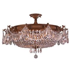 French Empire 10-light French Gold Finish Crystal Basket Semi Flush Mount Ceiling Light