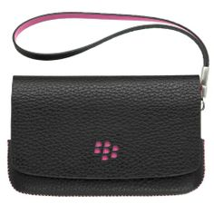 cool Blackberry Torch Cases | Blackberry ASY-31014-001 Original Leather Folio Pouch Case for Blackberry Torch 9800/9810 - 1 Pack - Bulk Packaging - Black/Pink