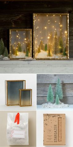 Create a Snow-Kissed Forrest in Minutes. Found the copper wire lights on Amazon, use non glare glass or matlux in shadow box for blurry/foggy effect?