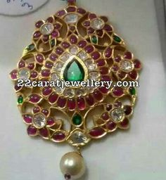 Trendy Pendant Sets in Ruby - Jewellery Designs